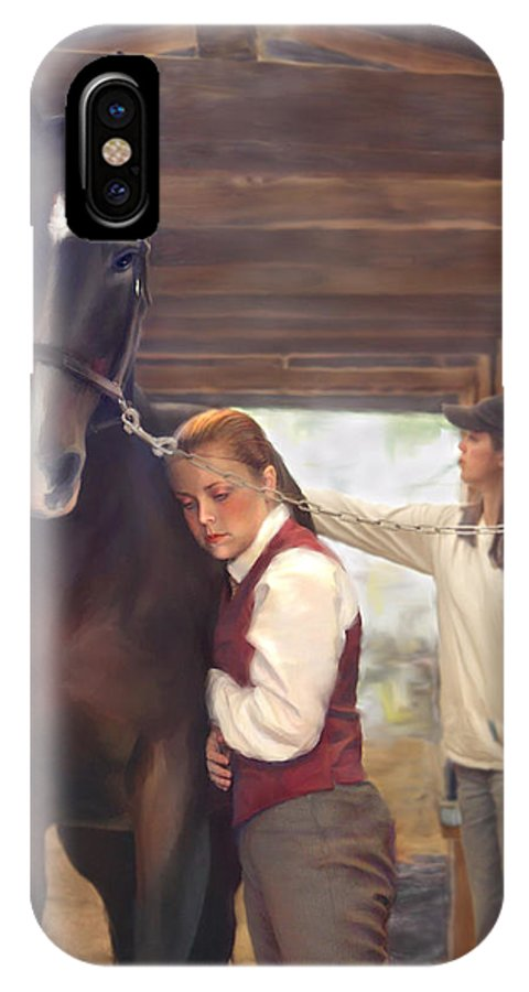 Horse IPhone X Case featuring the painting Aisle Hug Horse Show Barn Candid Moment by Connie Moses