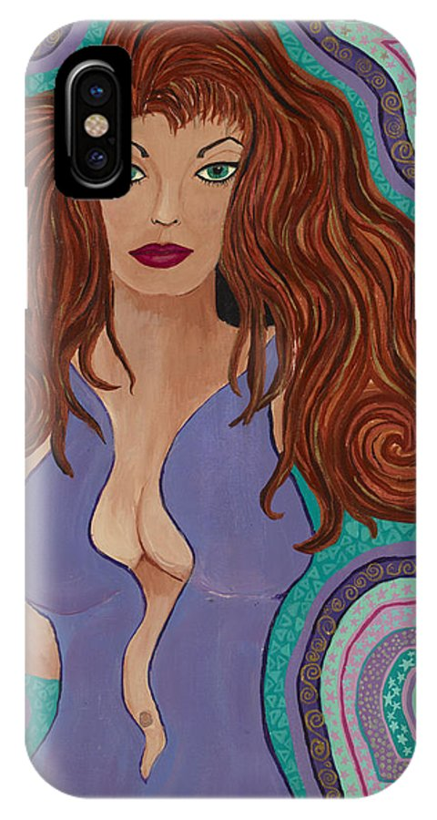 Sexy Lady IPhone X Case featuring the painting Alleha by J Andrel
