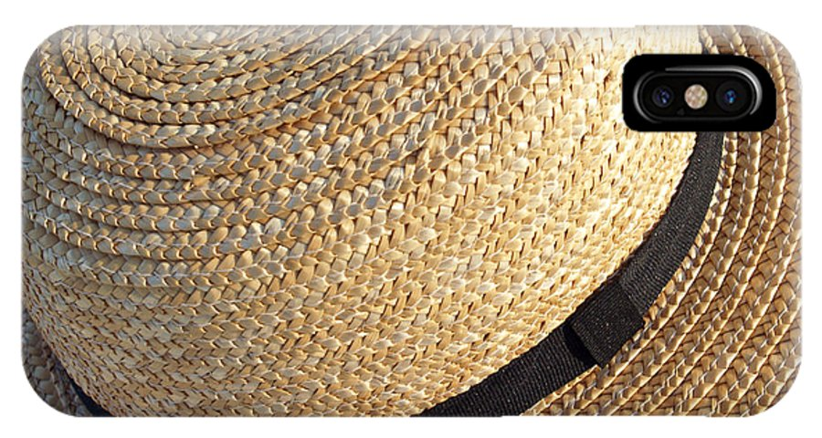 Hat IPhone X Case featuring the photograph Amish Straw Farming Hat by Anna Lisa Yoder
