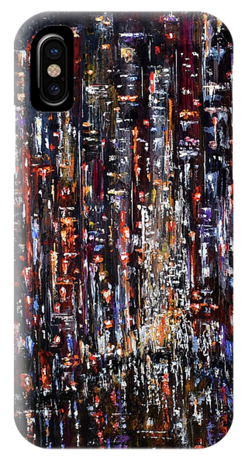 Nyc IPhone X Case featuring the painting Apple at night by Debra Hurd