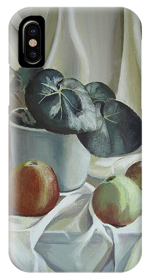 Still Life IPhone X Case featuring the painting Apples and plant by Elena Oleniuc