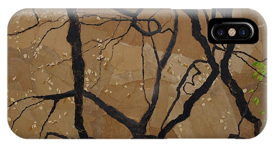 Abstract Tree Branches IPhone X Case featuring the painting Arboretum Dancers by Leah Tomaino