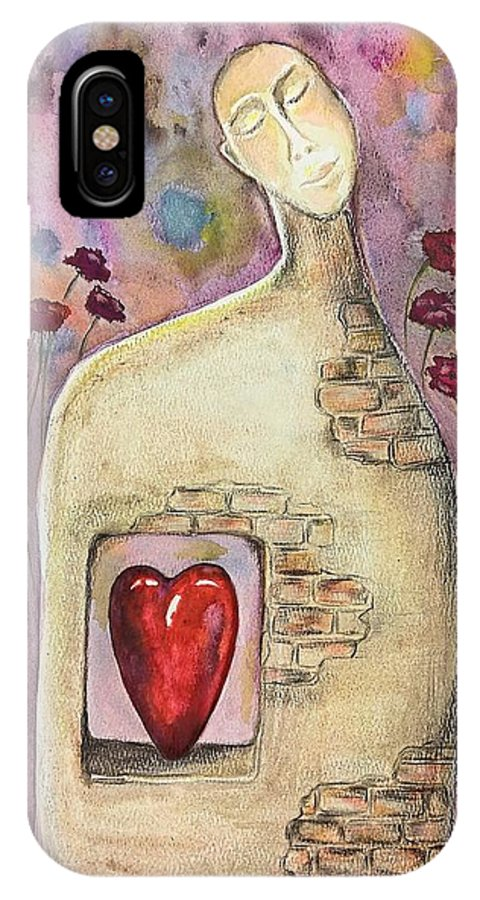 Valentines IPhone X Case featuring the painting Love Dreaming by Eve Farber