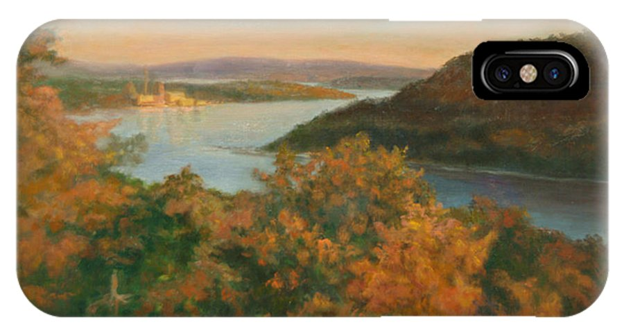 Landscape IPhone X Case featuring the painting Autumn Hudson Highlands by Phyllis Tarlow