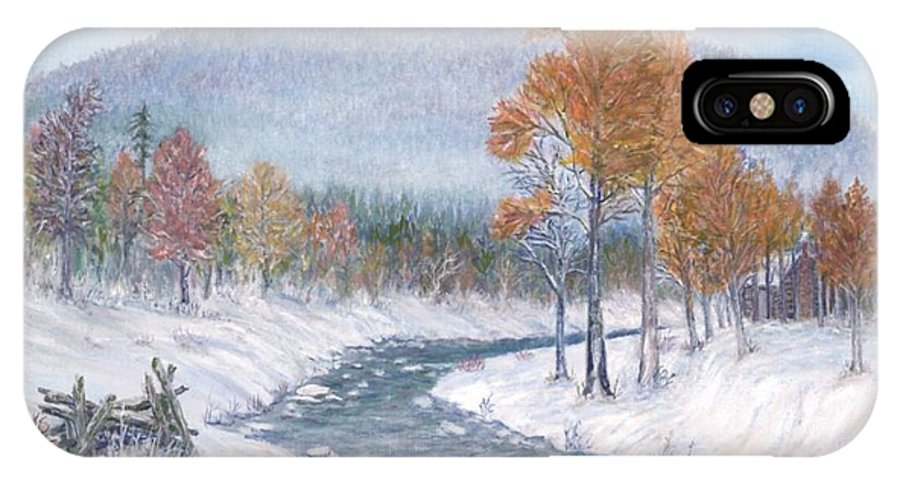 Snow IPhone X Case featuring the painting Autumn Snow by Ben Kiger