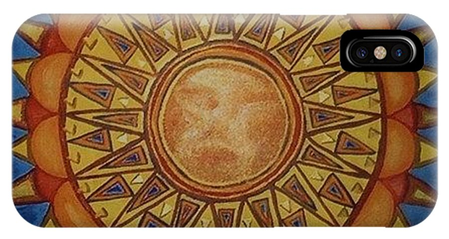 Jandrel IPhone X Case featuring the painting Aztec Sun by J Andrel