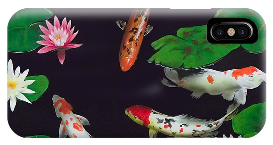 Koi IPhone X Case featuring the painting Barbie's Koi pond by Philip Fleischer