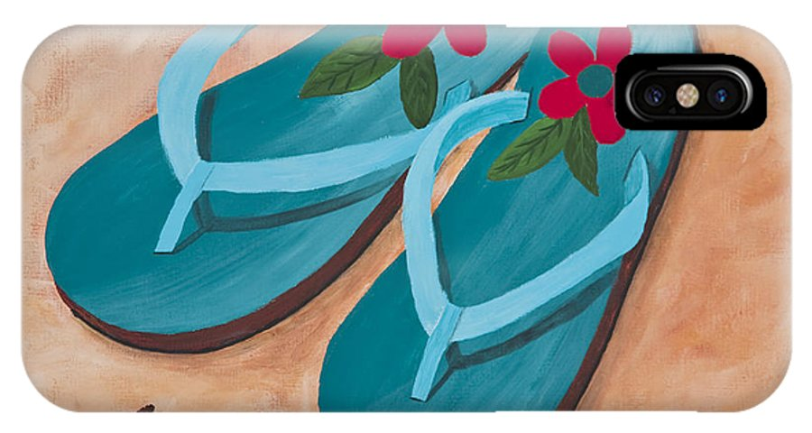 Landscape IPhone X Case featuring the painting Beach Sandals 2 by Darice Machel McGuire