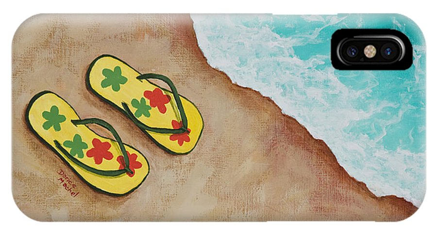 Landscape IPhone X Case featuring the painting Beach Sandals 3 by Darice Machel McGuire