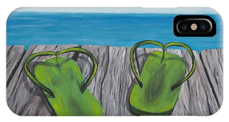 Landscape IPhone X Case featuring the painting Beach Sandals 4 by Darice Machel McGuire