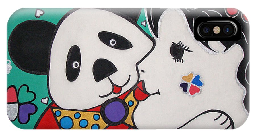 Pop-art IPhone X Case featuring the painting Bear Hug by Silvana Abel