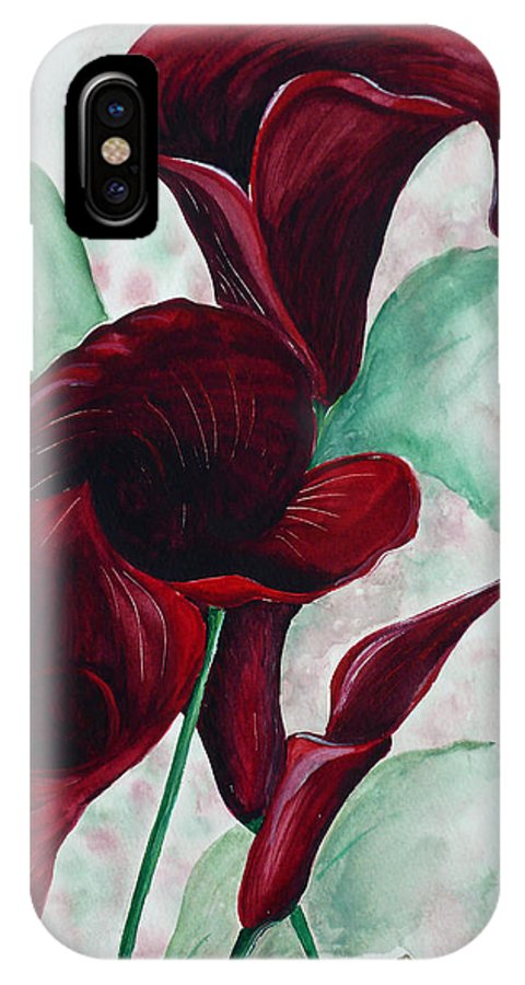 Flower Painting Floral Painting Botanical Painting Tropical Painting Caribbean Painting Calla Painting Red Lily Painting Deep Red Calla Lilies Original Watercolor Painting IPhone X Case featuring the painting Black Callas by Karin Dawn Kelshall- Best