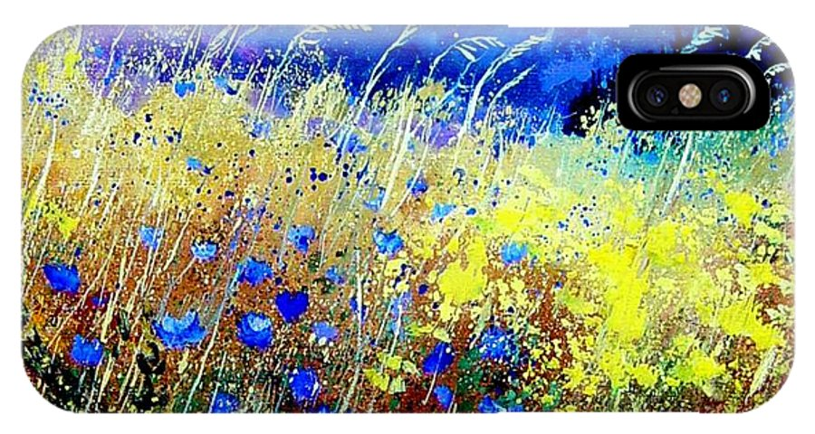 Poppies IPhone X Case featuring the painting Blue cornflowers 67 by Pol Ledent
