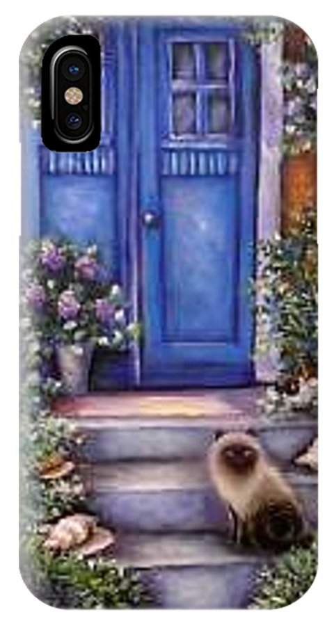 Whimsy IPhone X Case featuring the painting Blue Door by L Risor