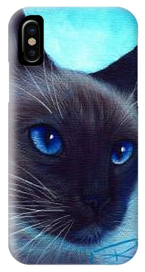 Whimsy IPhone X Case featuring the painting Blue Eyes by L Risor
