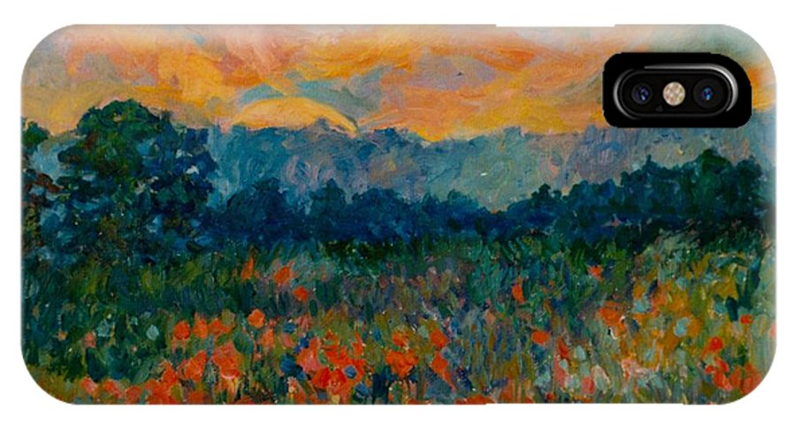 Landscape IPhone X Case featuring the painting Blue Ridge Sunset by Kendall Kessler