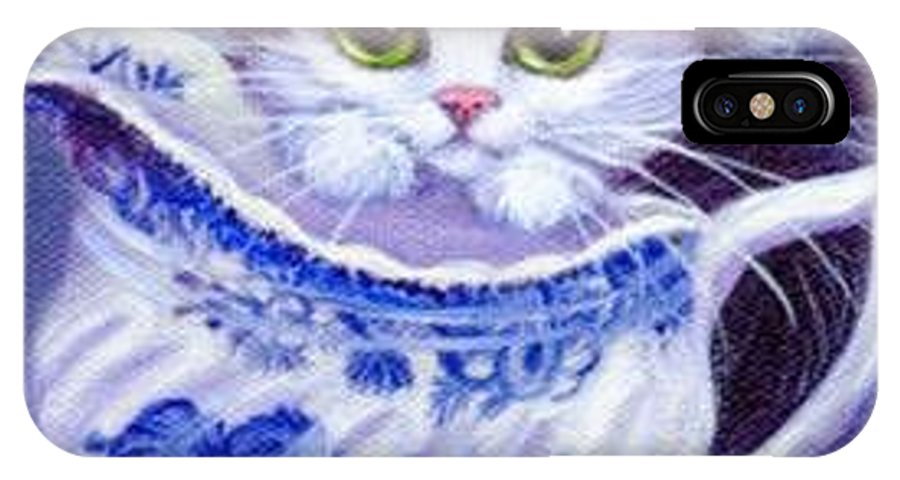 Whimsy IPhone X Case featuring the painting Blue Willow Cream Tux Kitty by L Risor