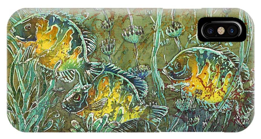 Bluegills IPhone X Case featuring the painting Bluegills Three by Sue Duda