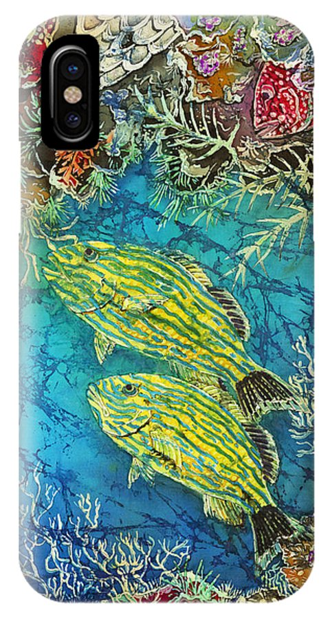 Ocean IPhone X Case featuring the painting Bluestriped Grunts Pair by Sue Duda