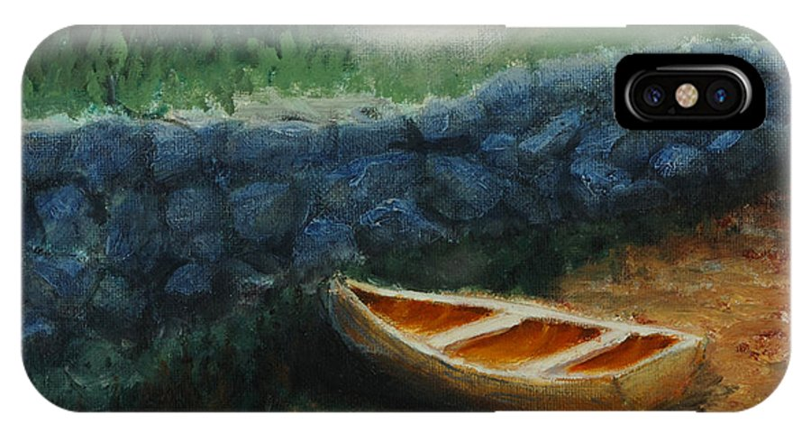 Row Boat IPhone X Case featuring the painting Boat by the Breakwall by Jerry McElroy