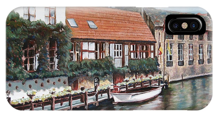 Belgium IPhone X Case featuring the painting Bruges Boat in Belgium by Jennifer Lycke