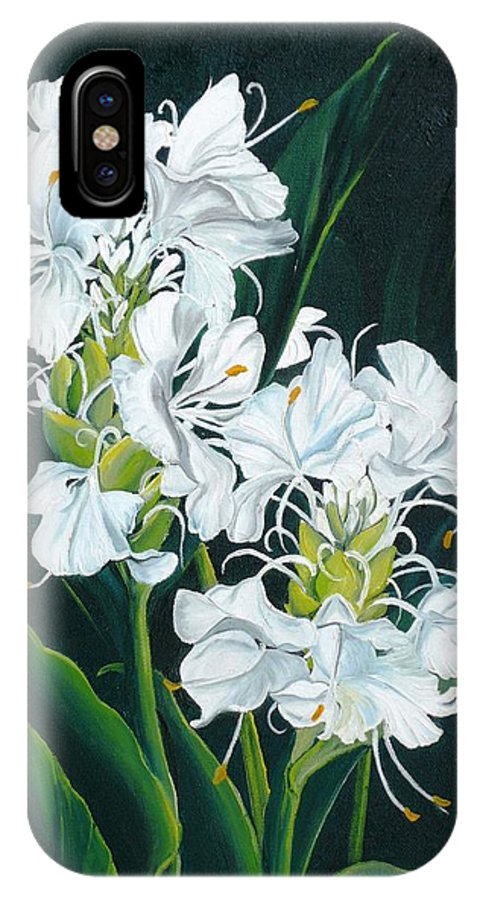 Caribbean Painting Butterfly Ginger Painting Floral Painting Botanical Painting Flower Painting Water Ginger Painting Or Water Ginger Tropical Lily Painting Original Oil Painting Trinidad And  Tobago Painting Tropical Painting Lily Painting White Flower Painting IPhone X Case featuring the painting Butterfly Ginger by Karin Dawn Kelshall- Best