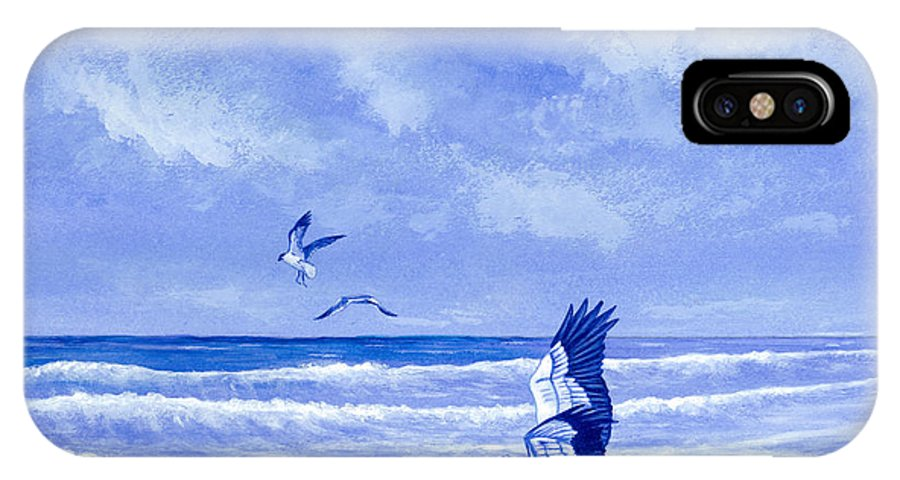 Bird IPhone X Case featuring the painting By the Sea by Richard Brooks