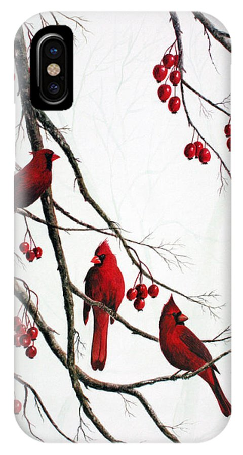 Birds; Cardinals; Trees IPhone X Case featuring the painting Cardinals And Crabapples by Ben Kiger