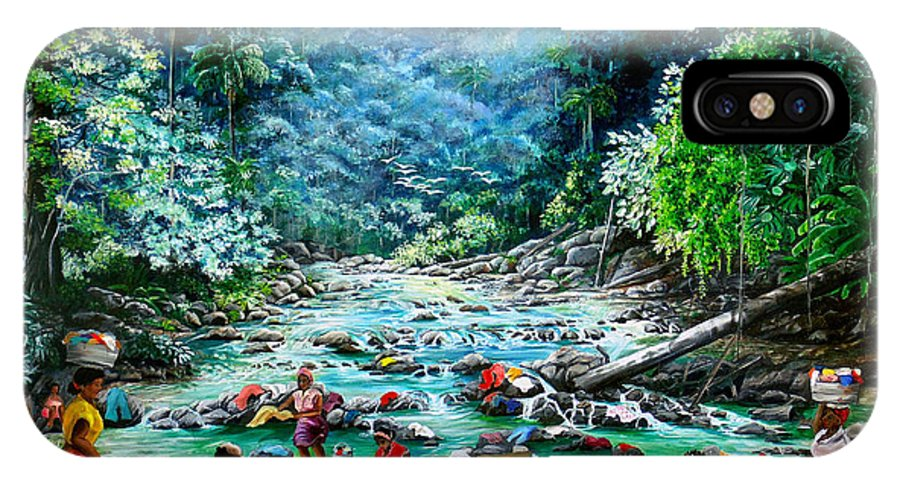 Land Scape Painting River Painting Mountain Painting Rain Forest Painting Washerwomen Painting Laundry Painting Caribbean Painting Tropical Painting Village Washer Women At A Mountain River In Trinidad And Tobago IPhone X Case featuring the painting Caribbean Wash Day by Karin Dawn Kelshall- Best