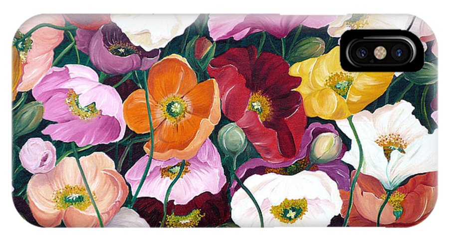 Flower Painting Floral Painting Poppy Painting Icelandic Poppies Painting Botanical Painting Original Oil Paintings Greeting Card Painting IPhone X Case featuring the painting Cascade Of Poppies by Karin Dawn Kelshall- Best