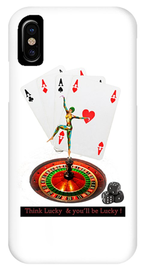 Dance IPhone X Case featuring the mixed media Casino Cards , Roulette, Dice , With Lady Luck Design by Tom Conway