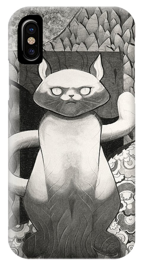 Art IPhone X Case featuring the drawing Cat Stare by Myron Belfast