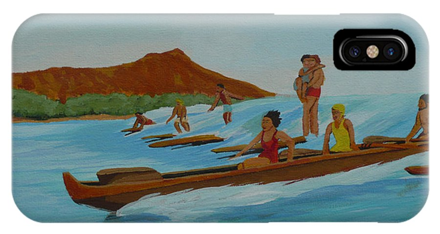 Hawaii IPhone X Case featuring the painting Catching a Waikiki Wave by Anthony Dunphy