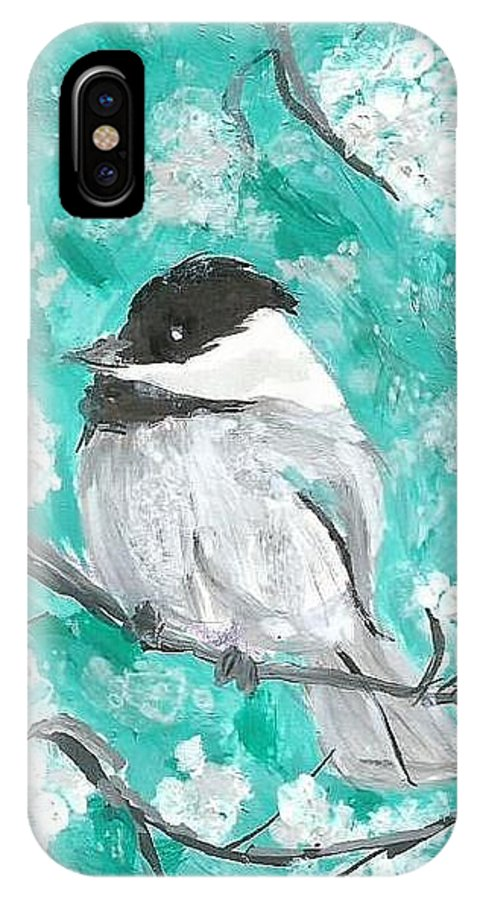 Chickadee Painting IPhone X Case featuring the painting Chickadee by Monica Resinger