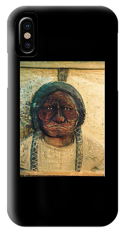 Indian IPhone X Case featuring the sculpture Chief Sitting Bull by Michael Pasko