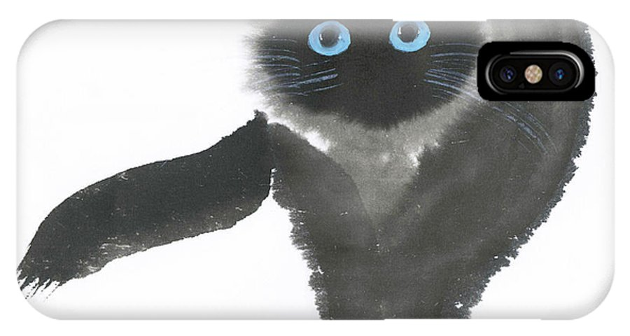 A Dignified Cat With Clear Eyes Is Starring Straight Ahead Intensely. It's A Contemporary Chinese Brush Painting On Rice Paper.  IPhone X Case featuring the painting Clear-Eye by Mui-Joo Wee