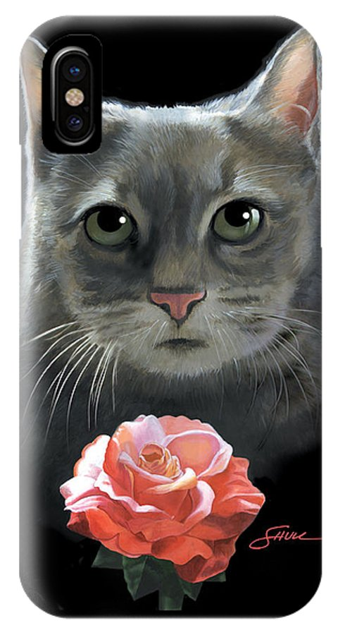 #cat IPhone X Case featuring the painting Cleo And The Rose by Harold Shull