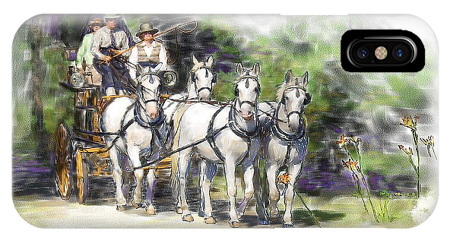 Horse IPhone X Case featuring the painting Coaching In Acadia- Carriage Driving Four In Hand by Connie Moses