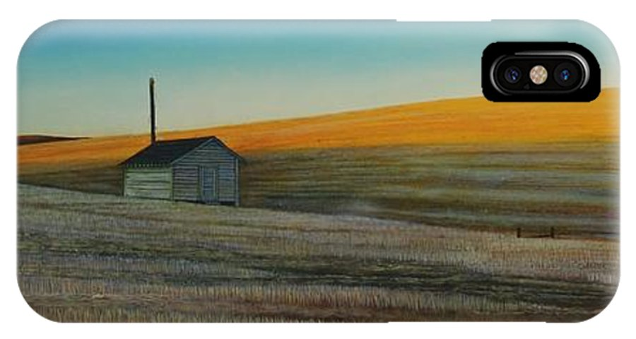 Wheat IPhone X Case featuring the painting Cold Field at Dusk by Leonard Heid