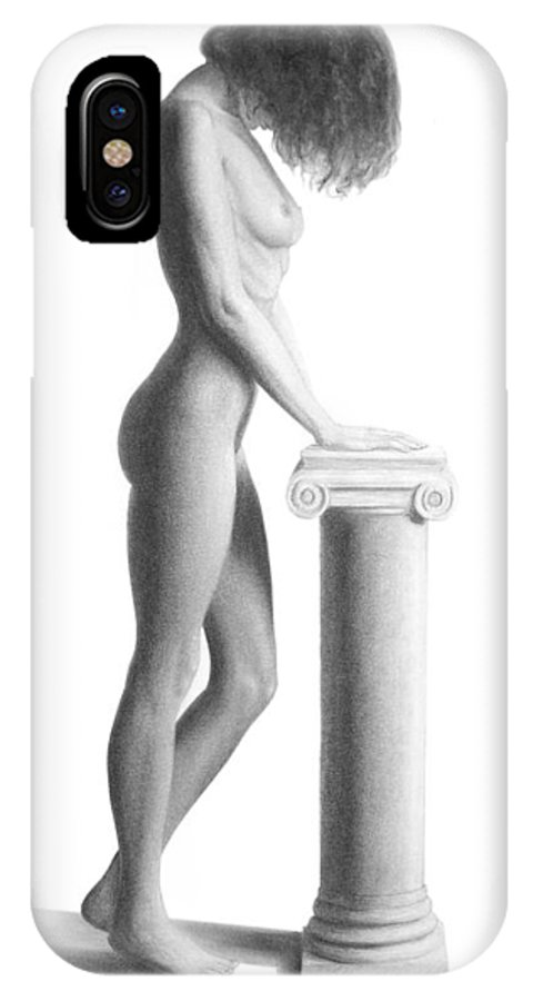 Print IPhone X Case featuring the drawing Column by Joseph Ogle