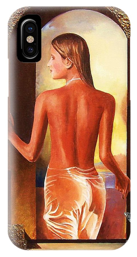 Nudes IPhone X Case featuring the painting Come To Me by Sinisa Saratlic