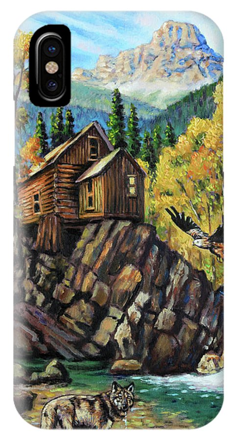 Rocky Mountains IPhone X Case featuring the painting Corona Get Away by John Lautermilch