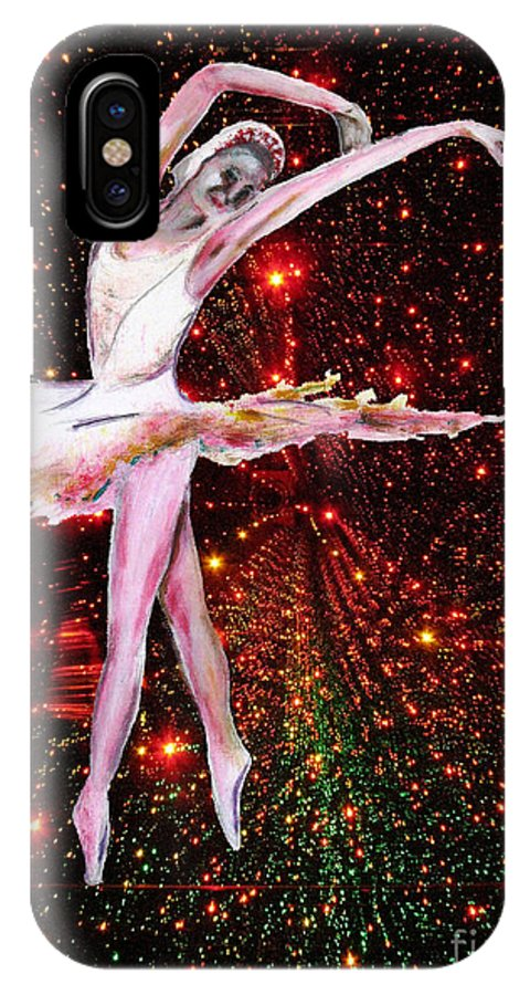 Females IPhone X Case featuring the painting Cosmic Dancer by Tom Conway