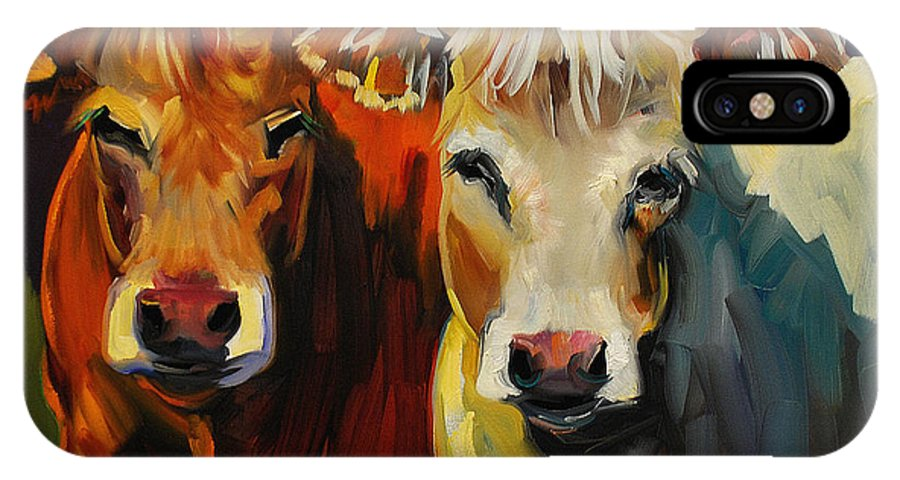 Painting IPhone X Case featuring the painting Cow Buddies by Diane Whitehead