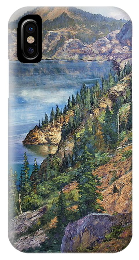 Crater Lake Oregon IPhone X Case featuring the painting Crater Lake Overlook by Donald Neff