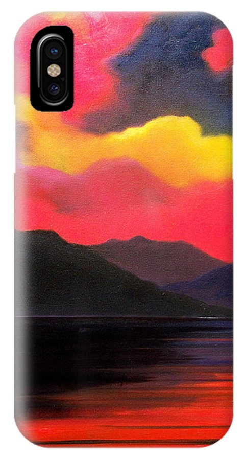 Surreal IPhone X Case featuring the painting Crimson clouds by Sergey Bezhinets