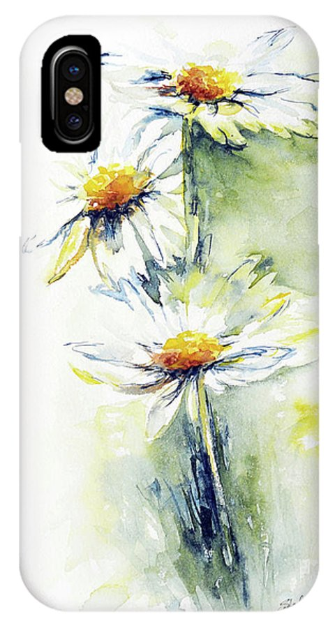 Flower IPhone X Case featuring the painting Daisy Chain by Stephie Butler