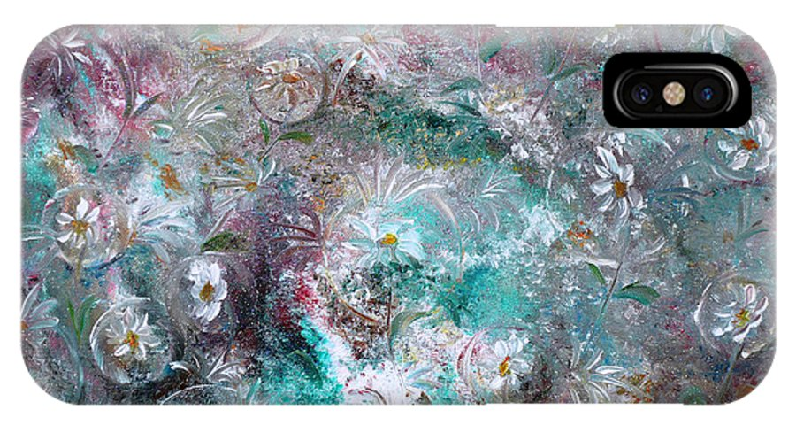 Original Flower Abstract Painting IPhone X Case featuring the painting Daisy Dreamz by Karin Dawn Kelshall- Best