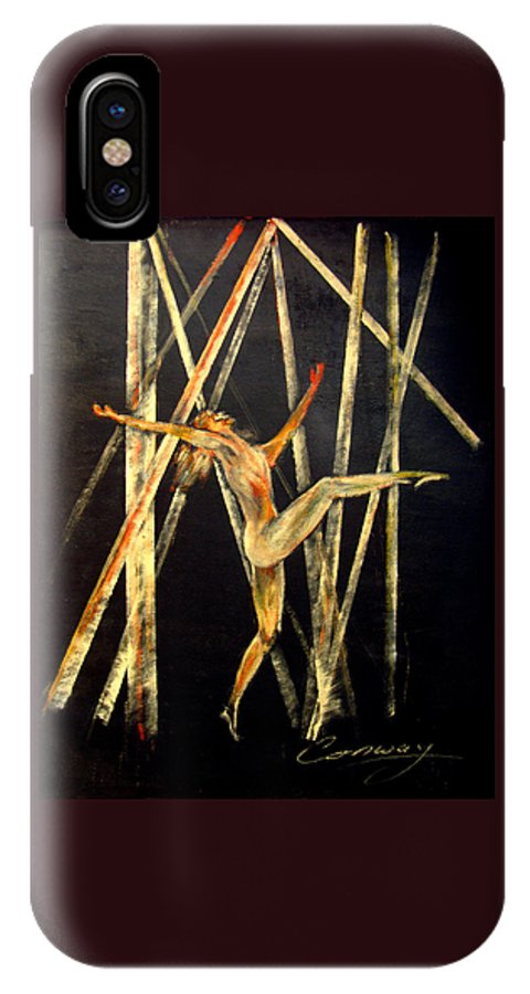 Female IPhone X Case featuring the painting Dancer in Light by Tom Conway