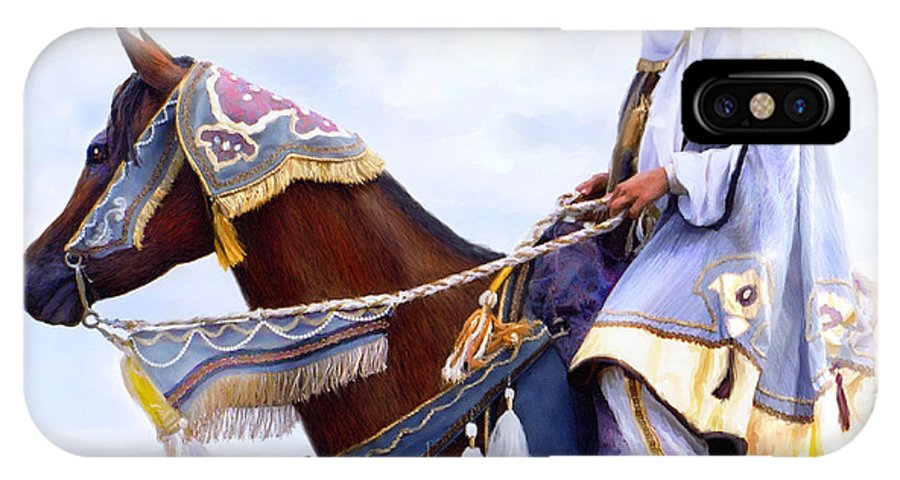 Horse IPhone X Case featuring the painting Desert Arabian Native Costume Horse And Girl Rider by Connie Moses